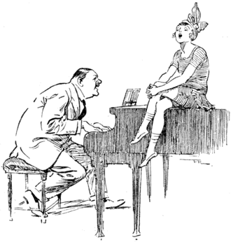 Charles Hawtrey (actor born 1858) - Cartoon in Punch, 25 August 1920, showing Hawtrey accompanying Joan Barry