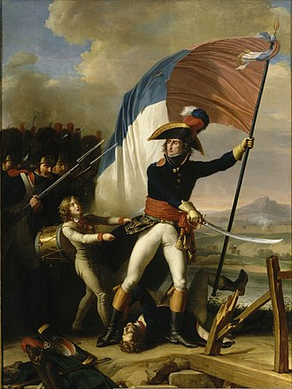 Augereau on the bridge at Arcole, 15 November 1796 by Charles Thevenin Charles Thevenin - Augereau au pont d'Arcole.jpg