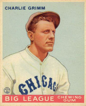Charlie Grimm - A 1933 Goudey baseball card of Charlie Grimm as a member of the Chicago Cubs.
