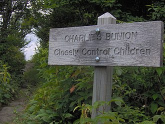 "Charlies Bunion - Sign at the ""entrance"" to Charlies Bunion, with the Appalachian Trail on the left"