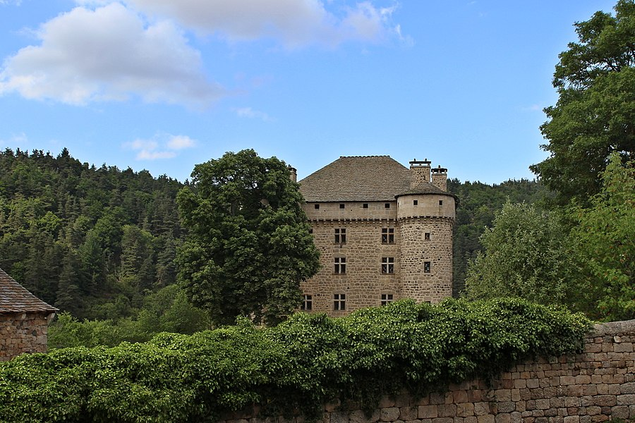 South facade of the Fort castle, near  Chambon-le-Château, in the Lozère département (France).