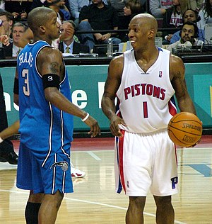 Steve Francis - Francis (left) talking with Chauncey Billups.