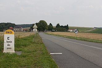 Battle of Craonne - The view is east along the Chemin des Dames with Heurtebise Farm at left. The French advance came toward the viewer.