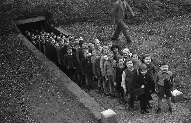 Children outside air raid shelter, Gresford (4365436432)