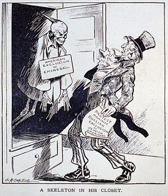 Sinophobia - A political cartoon criticizing the United States' protest against the anti-Jewish pogroms in the Russian Empire despite the Chinese Exclusion Act.