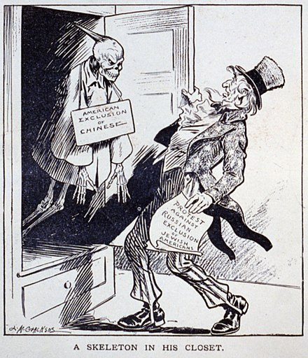 A political cartoon criticizing the United States' protest against the anti-Jewish pogroms in the Russian Empire despite the Chinese Exclusion Act. ChineseExclusionSkeletonCartoon.jpg