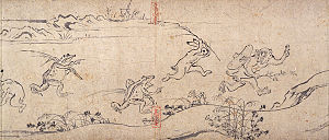 Chōjū-jinbutsu-giga - Panel from the first scroll, a monkey thief runs from animals with long sticks