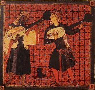 Medieval music - Christian and Muslim playing lutes in a miniature from Cantigas de Santa Maria of Alfonso X