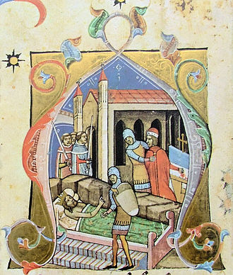 Stephen II of Hungary - Coloman had the blind Álmos imprisoned before his death (from the Illuminated Chronicle)