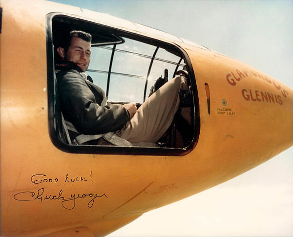 Captain Chuck Yeager sitting in Bell X-1 cockpit at Edwards AFB, 1 March 1994 Source: Wikipedia 594px-Chuck_Yeager_X-1_%28color%29.jpg