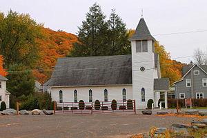 Noxen, Pennsylvania - Church in Noxen, Pennsylvania, surrounded by fall foliage