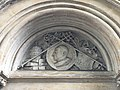 Church of St Joseph, Highgate exterior sculpture Leo XIII and coat of arms.jpg