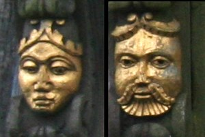 Churche's Mansion - Carved heads of the Churches