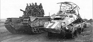Belgorod-Kharkov Offensive Operation - Soviet used Churchill Mk IV Tank at the fourth battle of Kharkov in 1943