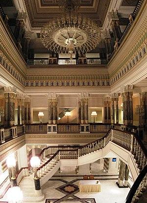 Çırağan Palace - Atrium with staircase in Çırağan
