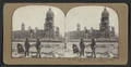 City Hall from McAllister St., looking northeast. Souvenir hunters in foreground, from Robert N. Dennis collection of stereoscopic views 2.png