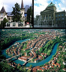 BernBerneBärn - Top left:  Historical Museum, Top right:  Federal Palace, Bottom:  Aerial view of Bern