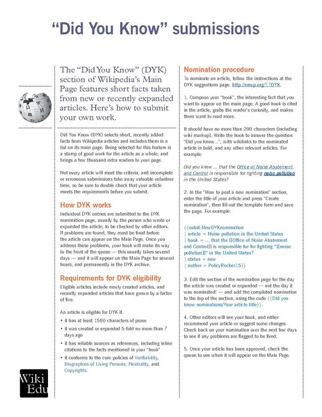 File:Classroom handout - Submitting an article to the Did You Know process.pdf