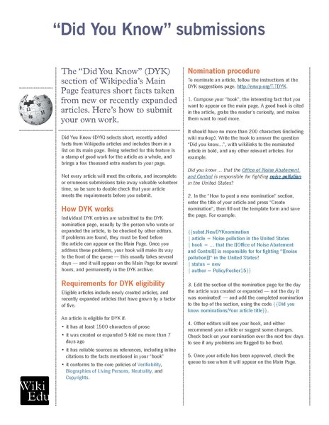 Fileclassroom Handout Submitting An Article To The Did You Know