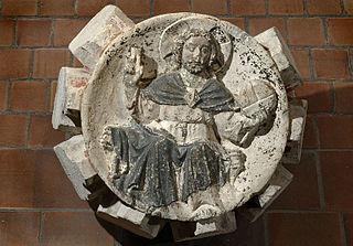 Clef de voûte ornée du Christ