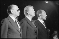 Nahaufnahme von Menahem Begin, Jimmy Carter und Anwar Sadat in Camp David., 09-07-1978 - NARA - 181133.tif