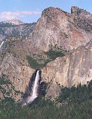 Bridal Veil Falls in Yosemite National Park flowing from a hanging valley.