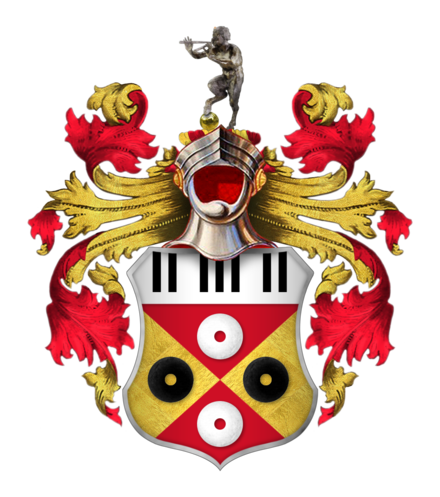 "Sir Elton John's coat of arms. Granted to him in 1987, the crest includes piano keys and records. The Spanish motto, ""el tono es bueno"", combines a pun on Elton John's name with the translation ""the tone is good"". The black, red and gold colours are also those of Watford F.C. The steel helmet above the shield faced forwards and with its visor open indicates that John is a knight. Coat of Arms of Sir Elton John, CBE.png"