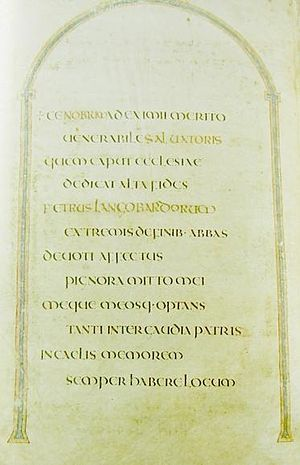 "Codex Amiatinus - Page with dedication; ""Ceolfrith of the English"" was altered into ""Peter of the Lombards"""