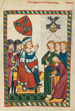 Burgrave - Burgrave of Regensburg (Burggraf von Regensburg), early 14th-century illustration in Codex Manesse.