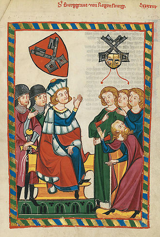 Burgrave - The Burgrave of Regensburg (Burggraf von Regensburg) presiding over a trial, early 14th-century illustration in the Codex Manesse.