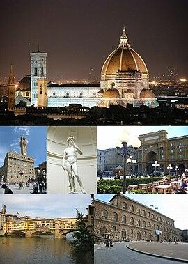 Clockwise from above: Cathedral of Santa Maria del Fiore, Piazza della Repubblica, Palazzo Pitti, Ponte Vecchio, Palazzo Vecchio and Michelangelo's David in the Accademia di Belle Arti