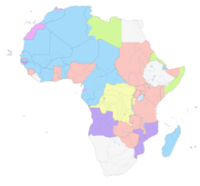 carte de l'Afrique figurant en différentes couleurs les possessions coloniales de l'époque