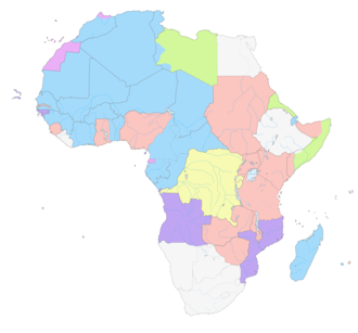 Françafrique - Map showing French colonies (in blue) in Africa in 1930; viz. French Equatorial Africa, French North Africa, French Somaliland and French West Africa. Along with former Belgian colonies (shown in yellow), these areas today make up the bulk of francophone Africa.