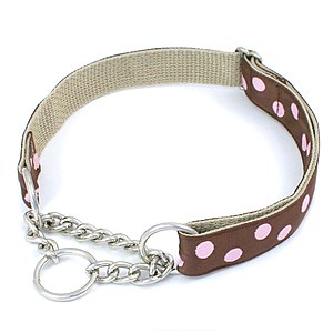 Dog collar - Martingale Collar with Chain Loop; martingale collars also come with a fabric loop instead of chain as well as optional buckles on both styles.