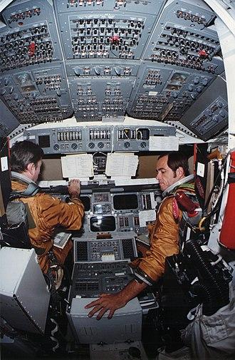 Shuttle Ejection Escape Suit - Image: Columbia STS 1 training