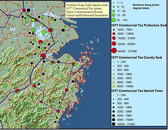 China Biographical Database - Commercial tax quotas as of 1077 and the success of localities in the civil service examinations during Northern Song