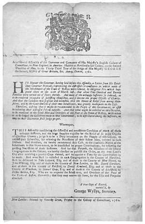 Great Boston fire of 1760 - Order of the Connecticut General Assembly, instructing all congregational ministers in the colony to assist in raising donations for the people of Boston following the fire