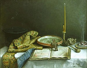 Asperges - Holy Water, painting by Constantin Daniel Stahi (1882) showing the implements used in the blessing of holy water. From left to right: A priest's kamilavka and epitrachelion (stole), Euchologion, bowl of water, blessing cross, candle, aspergillum made of basil branches, incense (Muzeul Naţional de Artă, Bucharest).