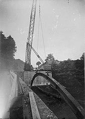 Construction of the new Irfon bridge