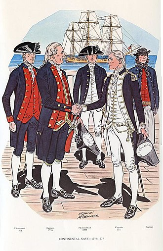 Continental Navy - The official Navy officer uniform of 1776 had red lapels and a red waistcoat. The unofficial uniform of 1777, worn by many officers, had white lapels and a white waistcoat, and in addition non-regulation epaulets.