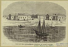 A black-on-yellow sketch showing the Convalescent Hospital on Hart Island