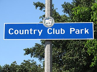 Country Club Park, Los Angeles - Country Club Park signage located at Crenshaw Boulevard immediately north of Pico Boulevard