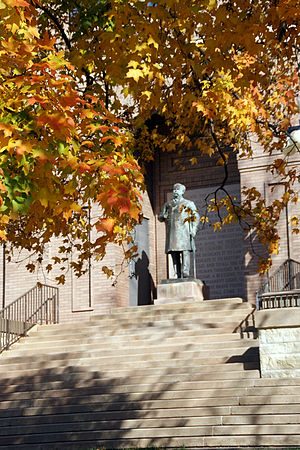Upper Iowa University - The statue of Colonel David B. Henderson stands in front of the Upper Iowa University library. Andrew Carnegie donated $25,000 to the University to honor his friend.