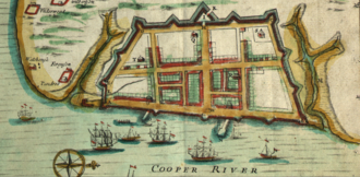 The Battery (Charleston) - Crisp Map of Charleston in 1711, where A, E, D, C, and B are the Granville, Ashley, Colleton, Carteret, and Craven Bastions respectively, and I is Johnson's Half Moon, and G is another Half Moon. The stream to the immediate south is Vanderhorst Creek, now Water Street, with White Point to the south.