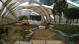 Crossrail Place - Roof Garden (Crossrail Place) under construction.