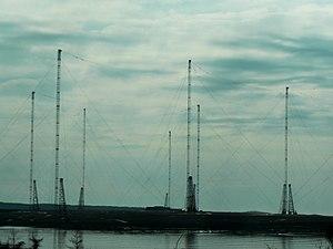 VLF Transmitter Cutler - Closeup of a few of the antenna towers of the Cutler VLF Transmitter.