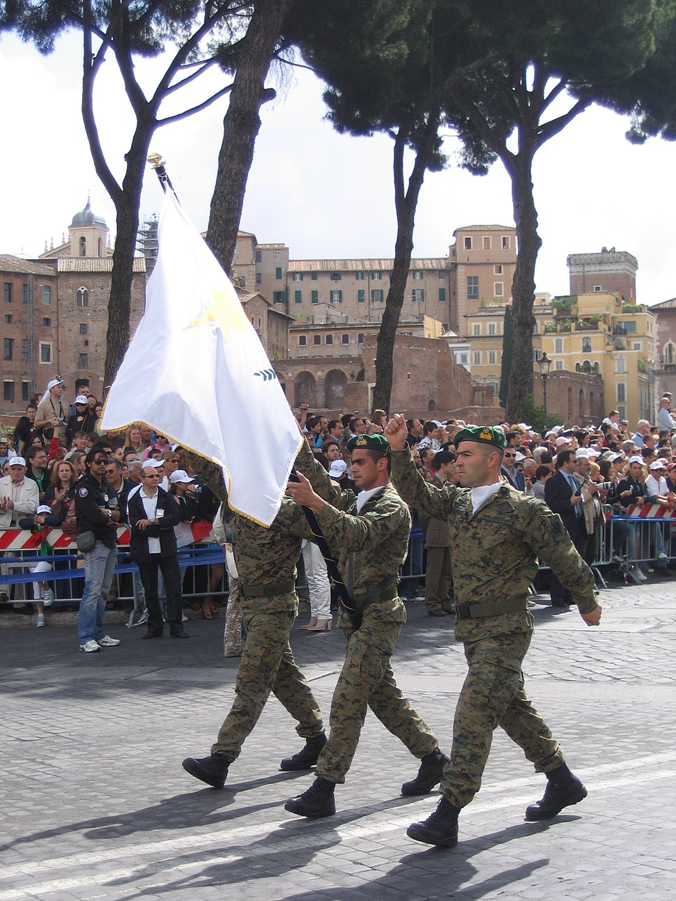 Cypriot Army color guard in parade