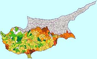 Demographics of Cyprus - Population density map of Cyprus (2001 census)