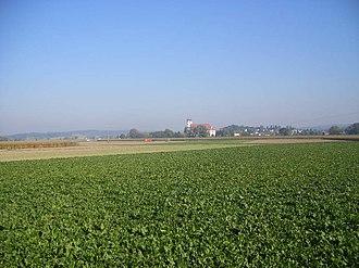 Gäuboden - Gäuboden landscape with Oberalteich Monastery in the background