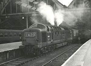 Diesel exhaust - Class 55 ''Deltic'' diesel locomotive with their characteristic dense exhaust when starting a train
